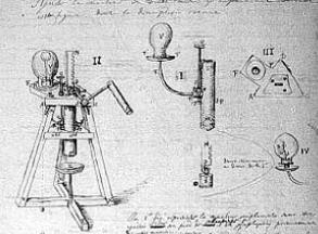 Huygens' definitieve ontwerp van de luchtpomp. Gaudron maakte als eerste een betrouwbare versie.